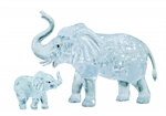 3D Crystal Puzzle - 2 Elephants Clear-mindteasers-The Games Shop