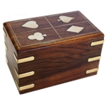 Timber Card Box - Double Deck Vertica Inlaid Suits-card & dice games-The Games Shop