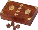 Timber Card Box and 5 wooden Dice - Double Deck Inlaid Motif-card & dice games-The Games Shop