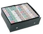Dominoes - Double 15 Coloured Dots - Vinyl case-traditional-The Games Shop