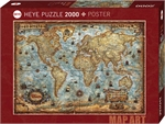 Heye - 2000 piece Map Art - The World-jigsaws-The Games Shop