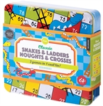 Classic Snakes & Ladders/ Noughts and Crosses tin-board games-The Games Shop