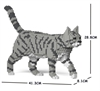 Jekca Sculpture - Grey & Black Cat Walking-construction-models-craft-The Games Shop