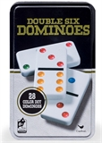 Dominoes - Double 6 with Coloured Dots in a Tin-traditional-The Games Shop