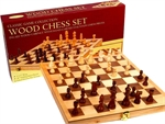 "Chess Set - 18"" Wooden Folding Inlaid-chess-The Games Shop"
