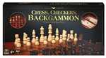 3 IN 1 - Chess/Checkers/Backgammon - Wooden-chess-The Games Shop